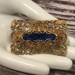 Jewelry - Vintage Brass Filigree Blue Stone Brooch Pendant